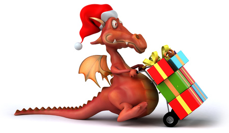Cartoon dragon wearing Santa hat with trolley and boxes Stock Photo