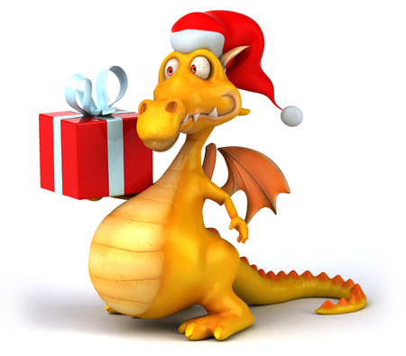 Cartoon dragon with Santa hat and gift Stock Photo