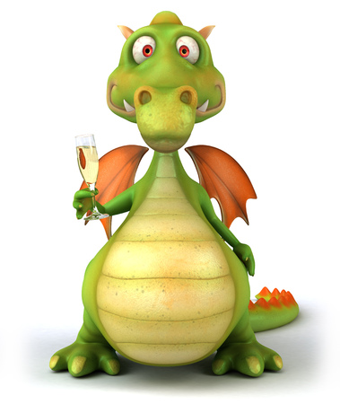 Cartoon dragon with sparkling wine