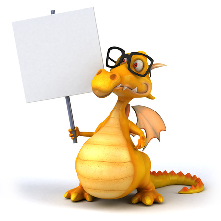 Cartoon dragon with signboard and glasses