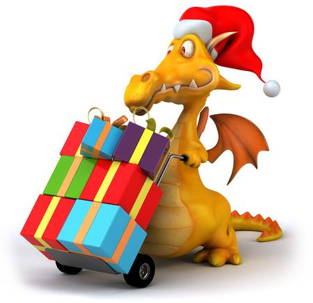 Dragon wearing santa hat pushing trolley with christmas presents