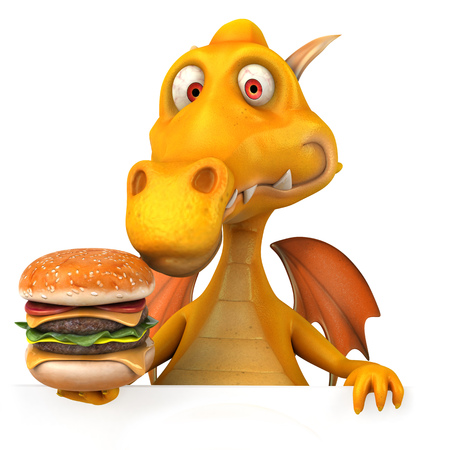 Dragon holding a burger