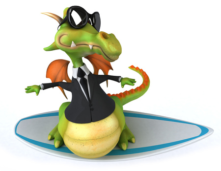 Dragon wearing a suit on a surfboard