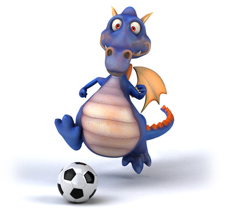 Dragon playing with a football
