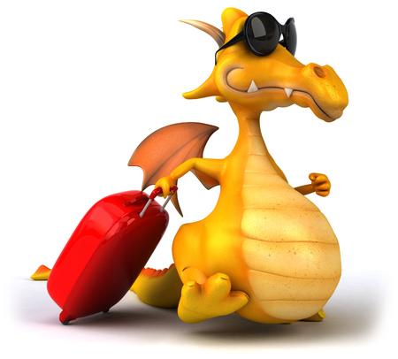 Dragon wearing sunglasses pulling a luggage Stock Photo