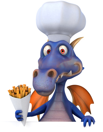 Dragon wearing a chefs hat holding a french fries cone