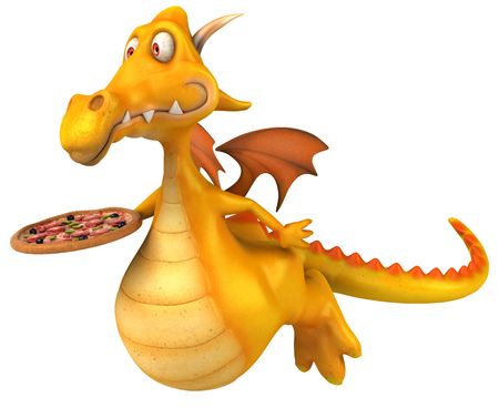 Dragon with a pizza