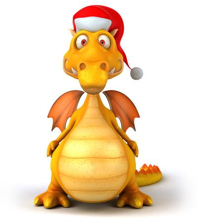 Dragon wearing santa hat