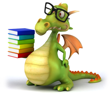 Dragon wearing glasses holding up a stack of books