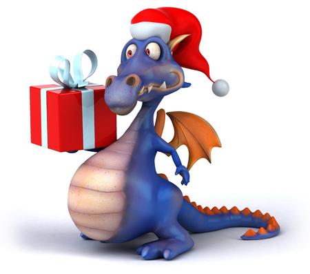 Dragon wearing santa hat holding a present