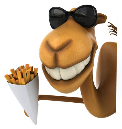 Camel wearing sunglasses holding french fries cone