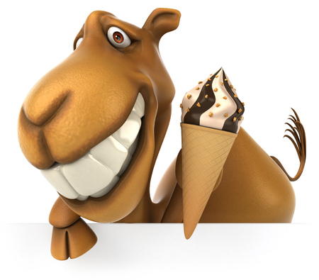 Happy camel holding an ice cream cone