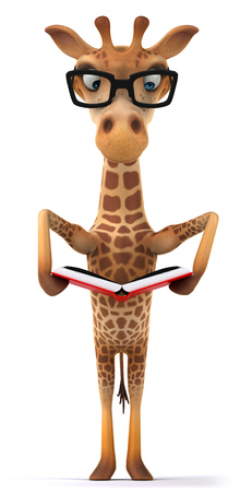 Cartoon giraffe reading a book