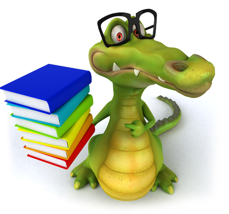 Cartoon crocodile holding and pointing to a stack of books