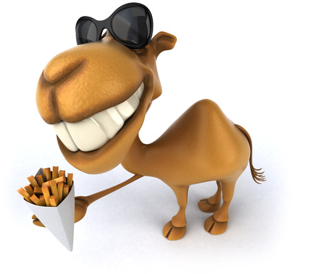 Cartoon camel with french fries Stock fotó