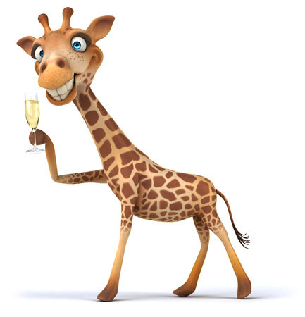 Cartoon giraffe with glass of champagne