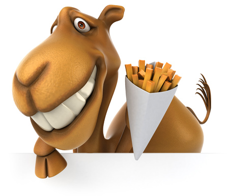 Cartoon camel with french fries Stock Photo