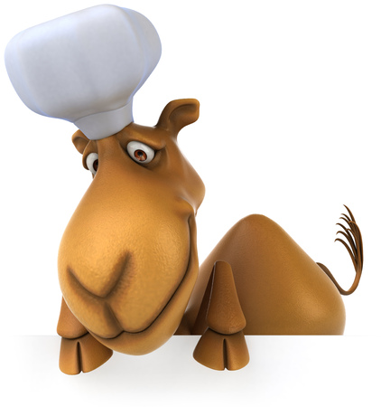 Cartoon camel with chef hat