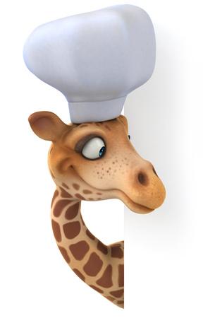 Cartoon giraffe with chef hat peeking Stock Photo