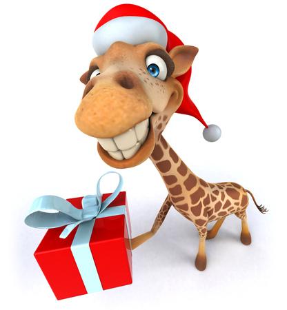 Cartoon giraffe with santa hat showing a gift box Stock Photo