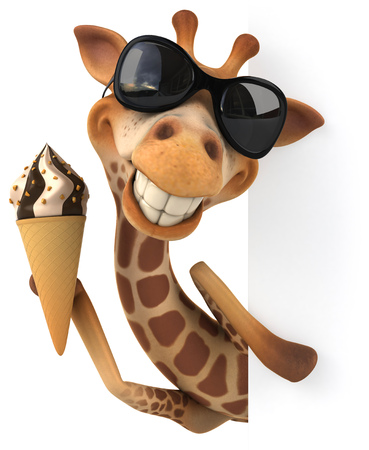 Cartoon giraffe with sunglasses holding an ice cream