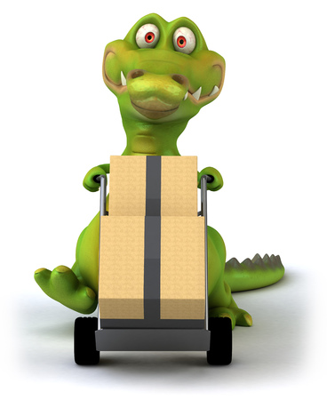 Cartoon crocodile pushing trolley with boxes Stock Photo