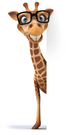 Cartoon giraffe with glasses