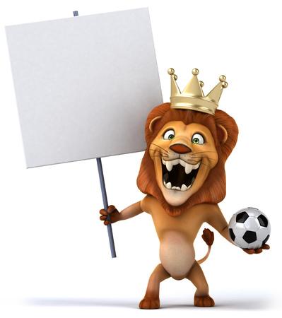 eslogan: Rey León de dibujos animados con cartel y balón de fútbol Foto de archivo