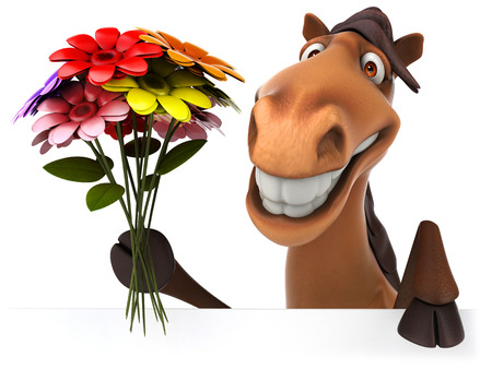 Cartoon horse with a bunch of flowers