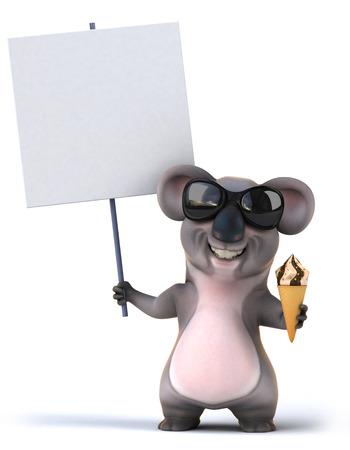 Cartoon koala with ice cream and placard Stock Photo
