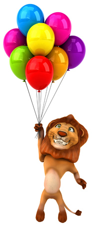 floating: Cartoon lion with bunch of balloons