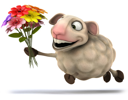 Cartoon sheep with a bunch of flowers