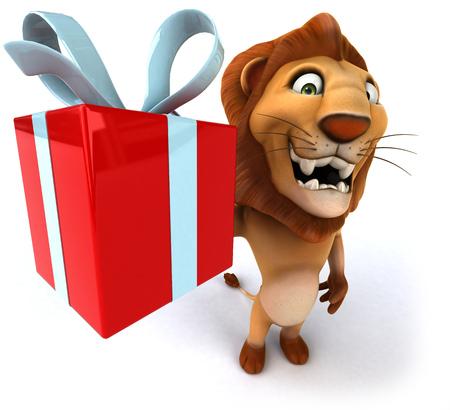 Cartoon lion showing a gift box