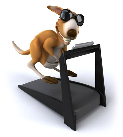 Cartoon kangaroo on treadmill Stock Photo