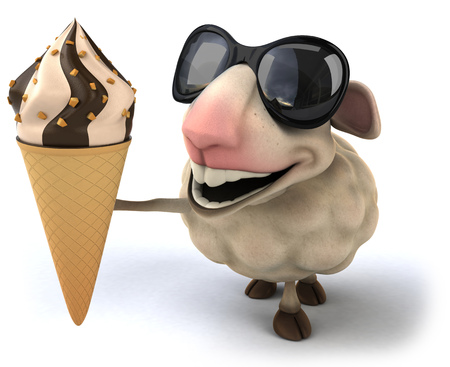 Cartoon sheep showing an ice cream