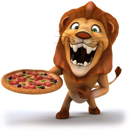 Cartoon lion holding and pointing to a pizza