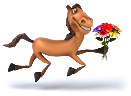 Cartoon horse holding a bunch of flowers