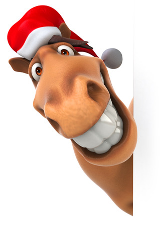 Cartoon horse with santa hat smiling Stock Photo