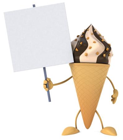 Cartoon ice cream character holding a placard