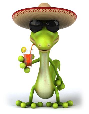Cartoon lizard drinking a glass of juice