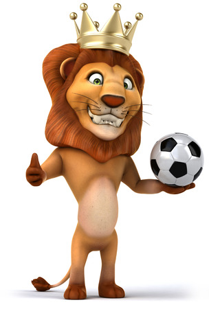 Cartoon lion king with a soccer ball Stock Photo