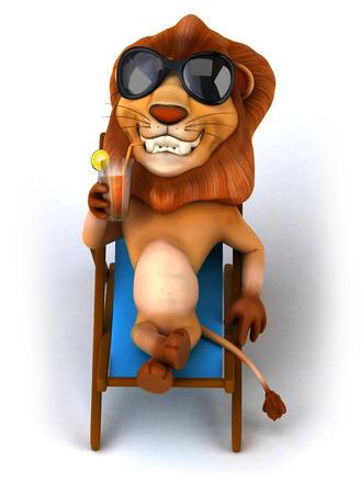 Cartoon lion drinking juice on a deckchair