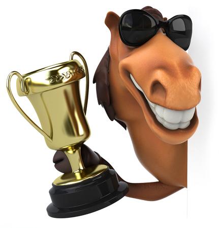 Cartoon horse with a trophy peeking