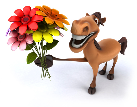 Cartoon horse showing a bunch of flowers