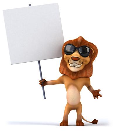 Cartoon lion with a placard