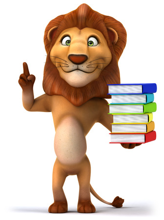 Cartoon lion holding a stack of books
