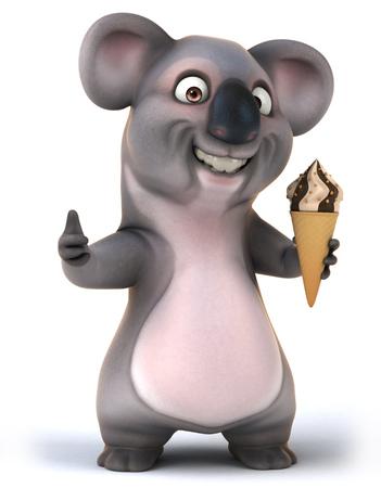 Cartoon koala holding an ice cream with thumbs up gesture