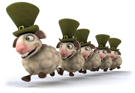 A line of happy cartoon sheeps