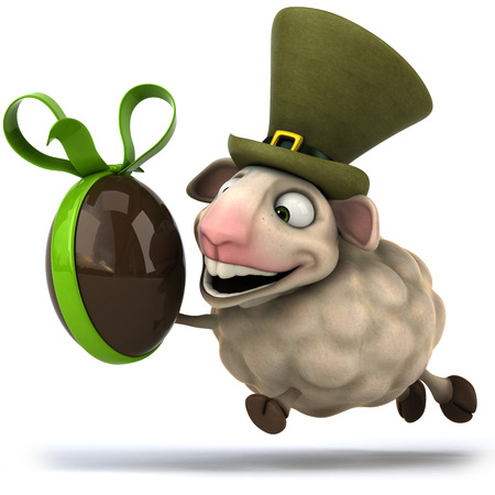 irish easter: Cartoon sheep holding a chocolate egg with ribbon Stock Photo