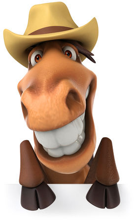 Cartoon horse with a hat